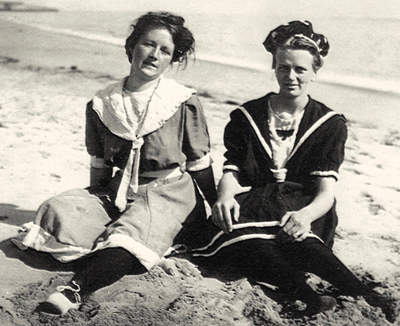 Historical image showing two women at a Santa Cruz area beach